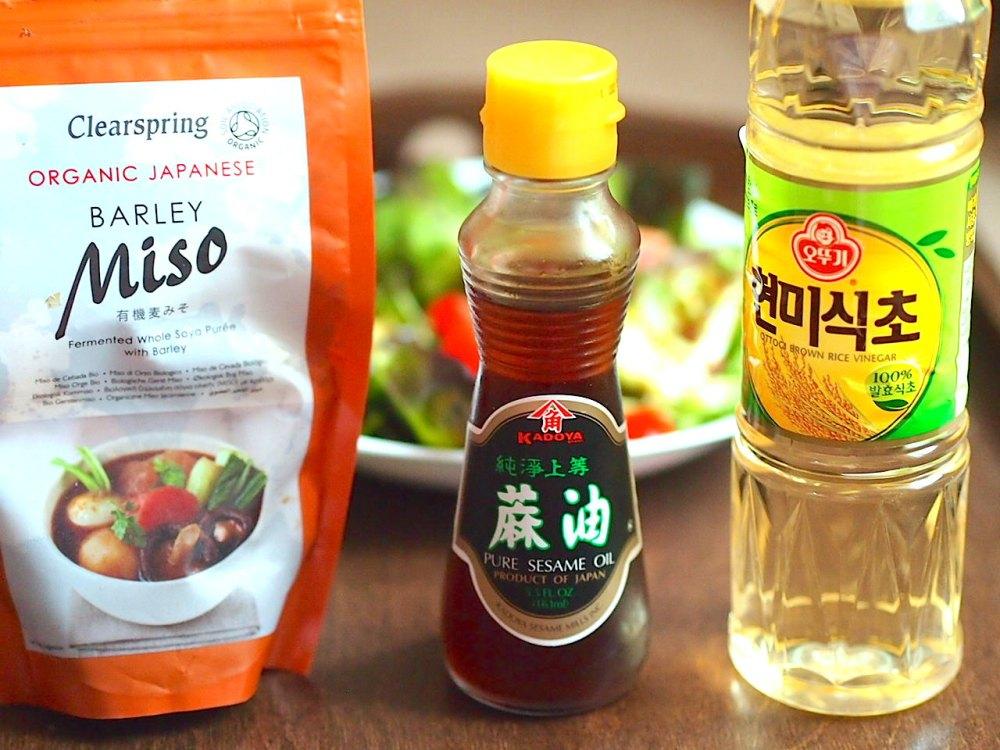 Мисо, сусамово олио, оризов оцет